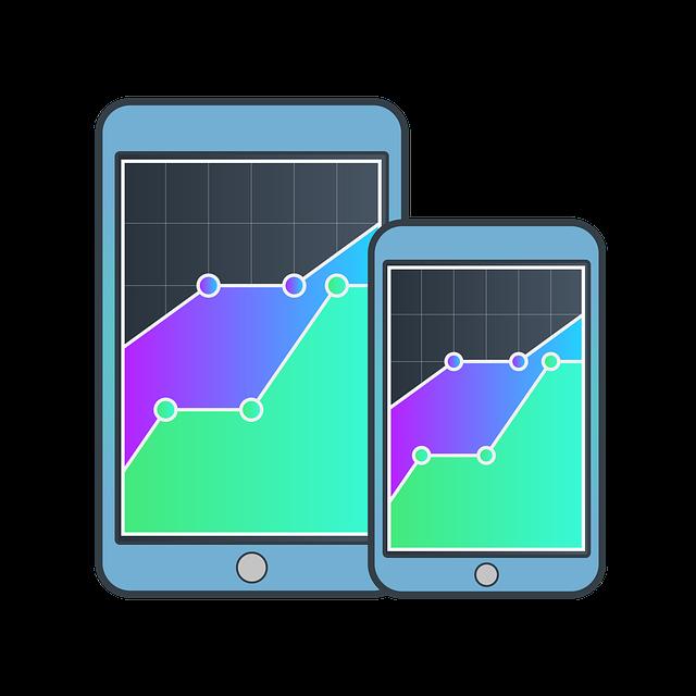mobil, tablet, grafy