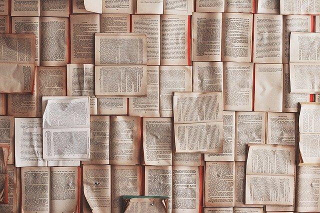vyskládané knihy
